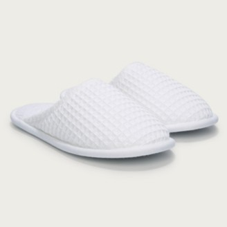 The White Company Unisex Waffle Slippers, White, Medium