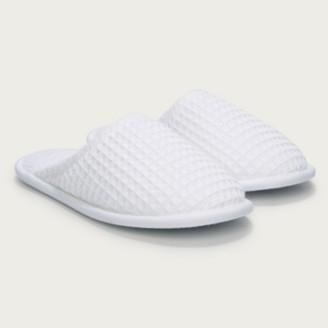 The White Company Unisex Waffle Slippers, White, Medium
