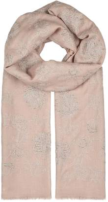 Janavi Rose Dust Embroidered Cashmere Scarf