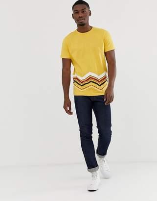 Jack and Jones Originals printed geo-tribal print t-shirt in yellow