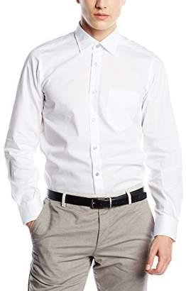 Signum Men's 1/1 Basic Casual Shirt, (Black), Collar Width: (Size: 4X-Large)