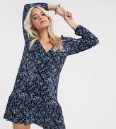 Asos DESIGN Petite long sleeve mini plisse tea dress pep hem in black ditsy print