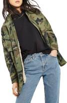 Topshop Women's Ben Faux Fur Lined Camo Jacket