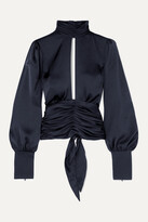 Thumbnail for your product : Orseund Iris Night Out Open-back Ruched Satin Blouse - Blue
