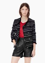 Mango Outlet Striped Textured Jacket