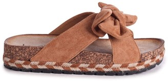 Linzi BALI - Tan Suede Slip On Slider With Bow Detail