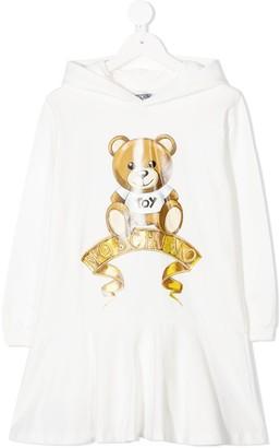 MOSCHINO BAMBINO TEEN Teddy logo hooded dress