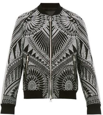 Balmain Crystal-embellished Cotton Bomber Jacket - Mens - Black Silver