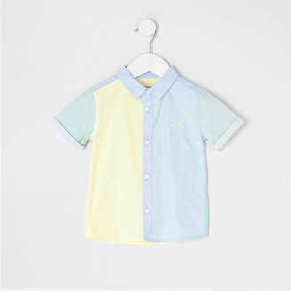 River Island Mini boys blue colour blocked 'River' shirt