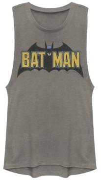 Fifth Sun Dc Batman Classic Text Bat Logo Festival Muscle Women's Tank
