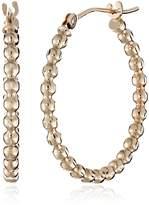Amazon Collection 14k Gold Diamond-Cut Bead Hoop Earrings