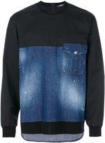 DSQUARED2 denim panel sweatshirt - men - Cotton/Spandex/Elastane - 46
