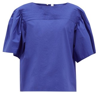 Merlette New York Canova Pintucked Cotton-poplin Top - Blue