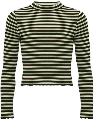 M&Co Teen striped high neck lettuce hem top
