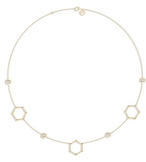 Natori 14K Yellow Gold Diamond Hexagon Station Statement Necklace, 16-17