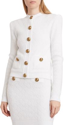 Balmain Diamond Knit Buttoned Cardigan