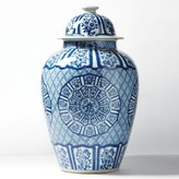 The Well Appointed House Blue and White Medallions Temple Jar - IN STOCK IN OUR GREENWICH STORE FOR QUICK SHIPPING