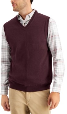 Club Room Men's Solid V-Neck Sweater Vest, Created for Macy's