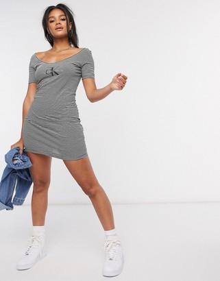 Calvin Klein stirpe front logo bodycon dress in multi