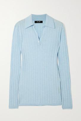 Lisa Yang - Olympia Ribbed Cashmere Polo Shirt - Light blue