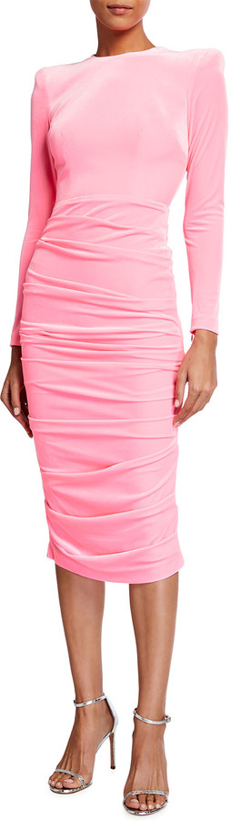 Alex Perry Lucas Ruched Velvet Midi Dress