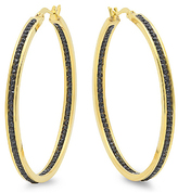 Black Simulated Diamond & Gold Hoop Earrings
