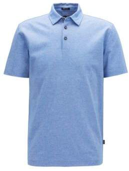 Short-sleeved polo shirt in Oxford cotton with linen