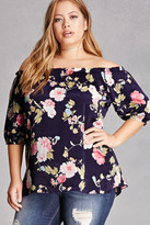 Forever 21 FOREVER 21+ Plus Size Satin Floral Blouse