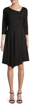 Donna Karan Asymmetrical Three-Quarter Sleeve Dress