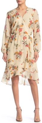 Spirit Of Grace Floral Surplice Long Sleeve Chiffon Midi Dress
