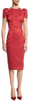 Zac Posen Short-Sleeve Cocktail Dress W/Cutouts, Scarlet