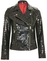 Topshop Crocodile effect leather biker