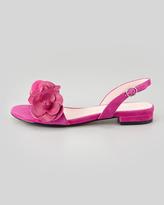 Taryn Rose Ida Floral-Detail Slingback Sandal, Magenta