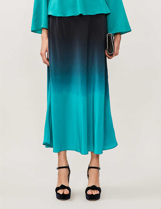Rixo Kelly ombre silk midi skirt