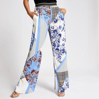 River Island Womens Blue print elasticated waist wide leg trouser