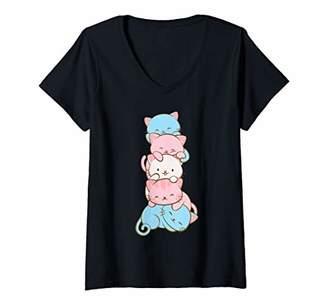 Womens Transgender Pride Cute Kawaii Cat Art V-Neck T-Shirt