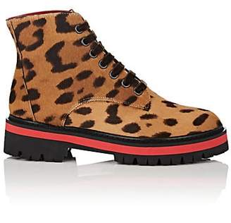 Mr & Mrs Italy Women's Leopard-Print Calf Hair Ankle Boots - Neut. pat.