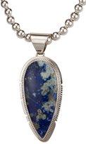 Arthwick Store Navajo Native American Denim Lapis Pendant with Silver Bead Necklace