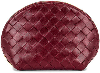 Bottega Veneta Leather Woven Cosmetic Case in Bordeaux & Gold | FWRD