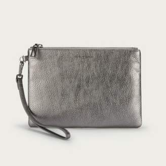 The White Company Leather Mini Wristlet Clutch Bag, Pewter, One Size