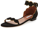 Tabitha Simmons Pearl Suede Ankle-Wrap Flat, Black/Gold