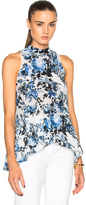 Erdem Rosa Blue Hill Garden Crepe de Chine Top in Blue,White,Floral.