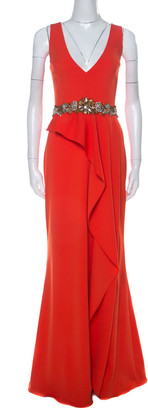 Marchesa Poppy Red Crepe Ruffled Embellished Sleeveless Gown M
