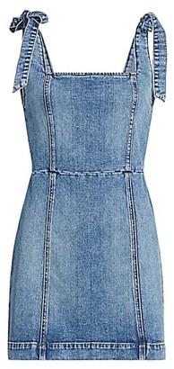 Alice + Olivia Maryann Tie-Shoulder Denim Dress