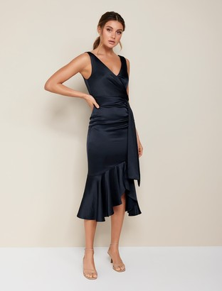 Forever New Gracelyn Satin Wrap Midi Dress - Navy - 4