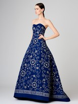 Oscar de la Renta Embroidered Silk-Faille Gown