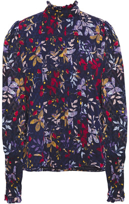 Walter Baker Ruffle-trimmed Floral-print Georgette Blouse