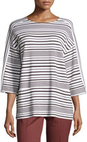 Lafayette 148 New York Oversized Striped Sweater W/Pockets, Granite/White