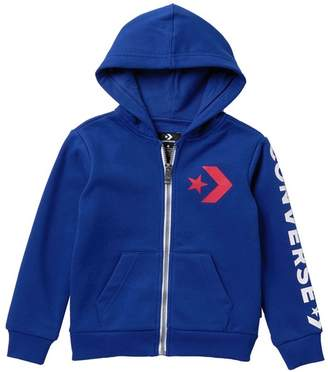 Converse Star Chevron Full Zipper Hooded Sweatshirt (Little Boys)