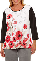 Alfred Dunner Saratoga Springs 3/4 Sleeve Floral Colorblock T-Shirt- Plus